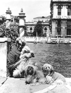 Peggy Guggenheim in Venice with her dogs.
