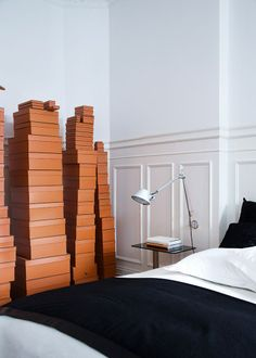 "The owner describes the five-foot-high stacks of Hermès boxes as having a ""wonderful effect, with a touch of humor"".  Indeed!"