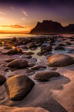 """""""From the Land of the Midnight Sun"""" In the summer months, the sun never completely sets in northern Norway."""