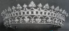 Now likely to be in the possession of the Spanish Royal family this piece originated in the British Royal family with Queen Victoria. A gift from Prince Albert Queen Victoria wore this tiara to the 1871 wedding of her daughter Princess Louise and passed it to her daughter Princess Beatrice as a wedding gift in 1885. Princess Beatrice then passed it her own daughter Queen Victoria Eugenie of Spain. The tiara is diamonds with 13 strawberry leaves and was originally set with rubies