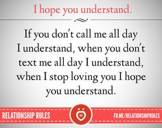 I hope you understand..