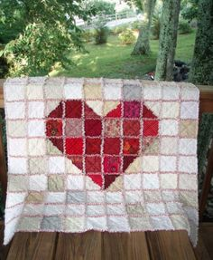 Heart of Hearts Rag Quilt  FREE SHIPPING by SeptemberOaks on Etsy