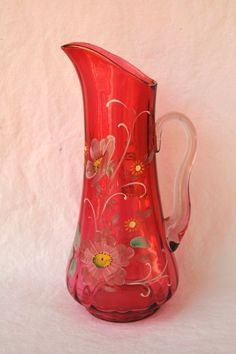 Vintage Victorian Style Cranberry Pitcher Hand Painted 13"
