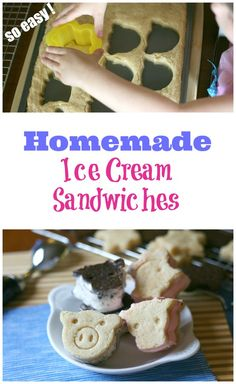 So EASY! Homemade Ice Cream Sandwiches! Cool off in the kitchen with the kids this summer and create your own animal-shaped ice cream sandwiches together.