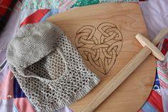 Homemade shields and swords. Crocheted armor.