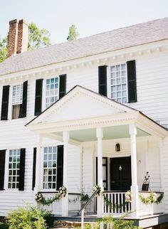 decor, black n white, white houses, exterior, color, future house, front porch, dark shutter, garland