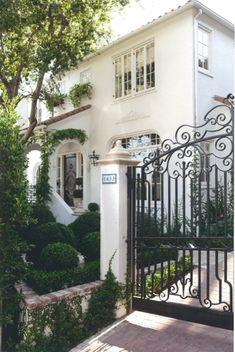mediterranean homes, white houses, tradit housesgarden, gorgeous, exterior, wrought iron gates, front doors, spanish style homes, dream houses