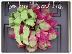 Lime and Hot Pink Burlap and Deco Mesh Wreath by SouthernThrills, $45.00