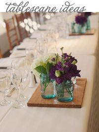 Style Unveiled - Style Unveiled   A Wedding Blog - Rustic Table Decor with Mason Jars and PurpleFlowers