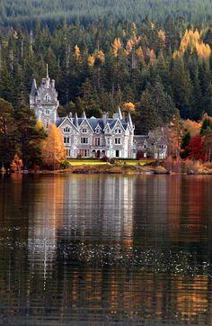 loch laggan, scotland, houses, scottish highlands, ardveriki, dream, castles, travel, place