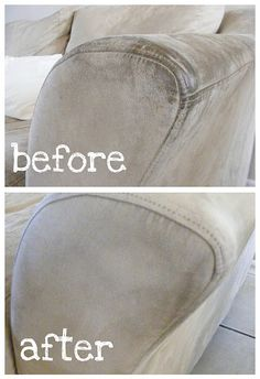 How to Clean a Microfiber Sofa - rubbing alcohol and stiff sponge. Then fluff with stiff brush in circles.
