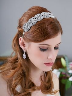 Silver Crystal Headband crystal tiara Bridal Halo by GildedShadows, $78.00 Affixed with wide tooth combs over a chignon?