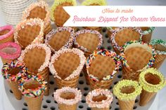 Rainbow Dipped Ice Cream Cones...perfect for Ice Cream Parties, Sprinkle parties and backyard BBQ's!!