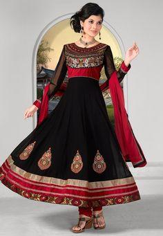 Black Faux Georgette Anarkali Churidar Kameez @ $79.01