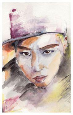 Junhyung inspirated Portrait original by YoYomiyoko on Etsy, $45.00