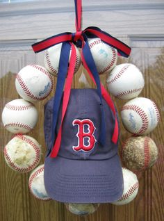 hats, idea, basebal wreath, crafti, front doors, baseball season, diy, wreaths, boston red sox