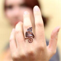 Forged Copper Ginkgo Leaf Ring, TAGT. $50.00, via Etsy.