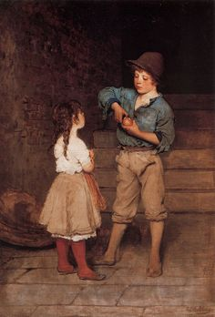 Eugene de Blaas - Zwei Kinder (Two Children), c. 1888-1889 mussel, austrian painter, austrian art, eugen de, academ painter, children, de blaa, 1843 1931, artist eugen