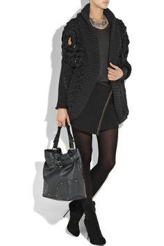 Chunky knit dark gray wool cardigan
