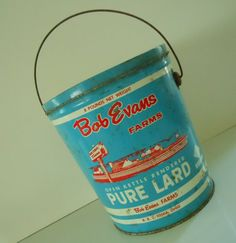 Vintage Blue Bob Evans PURE LARD Bucket. Did they really sell these!?