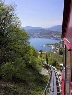 Monte Bre Funicular, Lake Lugano, Ticino, Switzerland