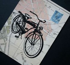 Viva Roma!  Bicycle print on Rome street map, collaged with a vintage Italian postage stamp, by CrowBiz. More bike prints here: www.crowbiz.etsy.com