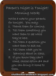 Parent's Night: Involving Students When They're Not Invited.  Via Shut the Door and Teach #ParentsNight