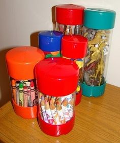 Use the screw containers from hardware stores to organize small toys and crayons.