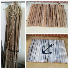 DIY tobacco stick doormat. Cut sticks to size doormat desired, use drill bit to make a hole on side of stick about 3-4 inches from each end, then thread rope through holes and tie off, burn ends to not unravel. Keep it natural wood or spray paint or hand paint to decorate.