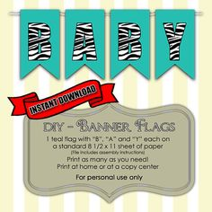 INSTANT DOWNLOAD DIY - Do it yourself - Zebra Pattern Bunting Banner Flags