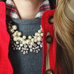 Red; plaid; gray; statement necklace winter outfit