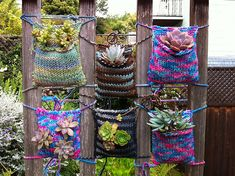 Plant Bombing knitting projects, pocket, plant holders, yarn bombing, knitting patterns, crochet, succulent plants, hanging planters, container gardening