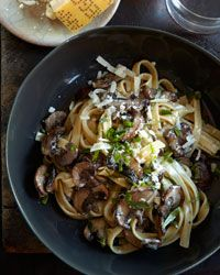 Fettuccine with Mushrooms, Tarragon, and Goat-Cheese Sauce Recipe from Food & Wine.  Made this a while ago, Absolutely delightful!!!