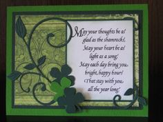 handmade St. Patrick's Day card ... luv the blessing ... die cut flourishes and shamrocks ... moonochromatic greens except for the white sentiment panel ...