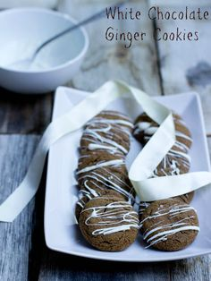 White Chocolate Ginger Cookies from @Arrian Purcell Hendricks Feik Cheney (Sweet Basil) on chef-in-training.com ... These cookies look and sound amazing! #cookie #recipe #bloggercookieexchange