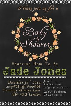 Baby Shower Invitation DIFFERENT COLOR AVAILABLE by BumblesDesign