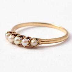 Alternative Wedding Ring Edwardian White Pearl & 14K Gold Band Antique June Birthday Birthstone Size 5 / 5.25