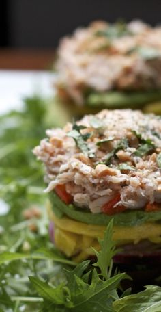 Crab Stacks with Ginger Lime Dressing with Avocado
