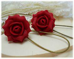 Red Ruby Rose Drop Earrings