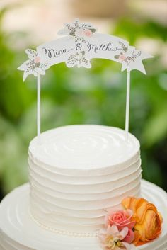 Cute cake topper to match the stationery.