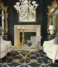 Living Room by Kelly Wearstler - black walls with white furnishings - dramatic.