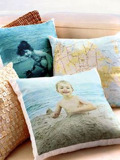 Turn special photos and maps into pillows. | 20 Non-Scrapbook Ways To Remember Your Vacation Forever