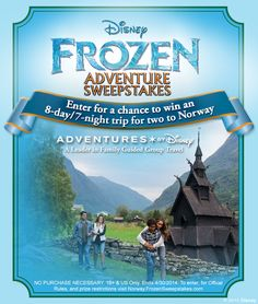 "See the land that inspired Disney's ""Frozen""! Enter to win a trip for two to Norway with Adventures by Disney! For rules and to enter: http://di.sn/fZc"