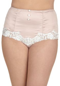 In With the Elegant Undies - Pink, White, Solid, Buttons, Lace, Pinup, Vintage Inspired, 40s, 50s, Pastel, High Waist, Wedding