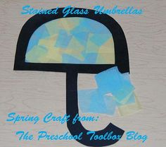 Stained Glass Umbrella Craft | The Preschool Toolbox Blog #spring #preschool #kidscrafts