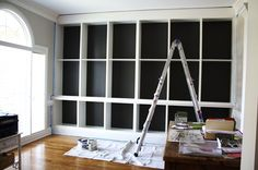 built-ins with back wall painted.