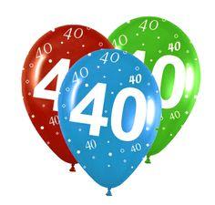 Globos de látex para decorar tu fiesta 40 cumpleaños, de www.fiestafacil.com - $3.90 / Latex balloons to decorate your 40th birthday party, from www.fiestafacil.com