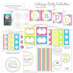 Candyland pdf - with lollipop invitations