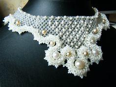 Beadwork by Elizaveta Fedorenko - netting and pearls