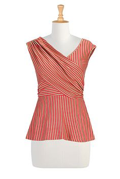 Draped front cotton knit top